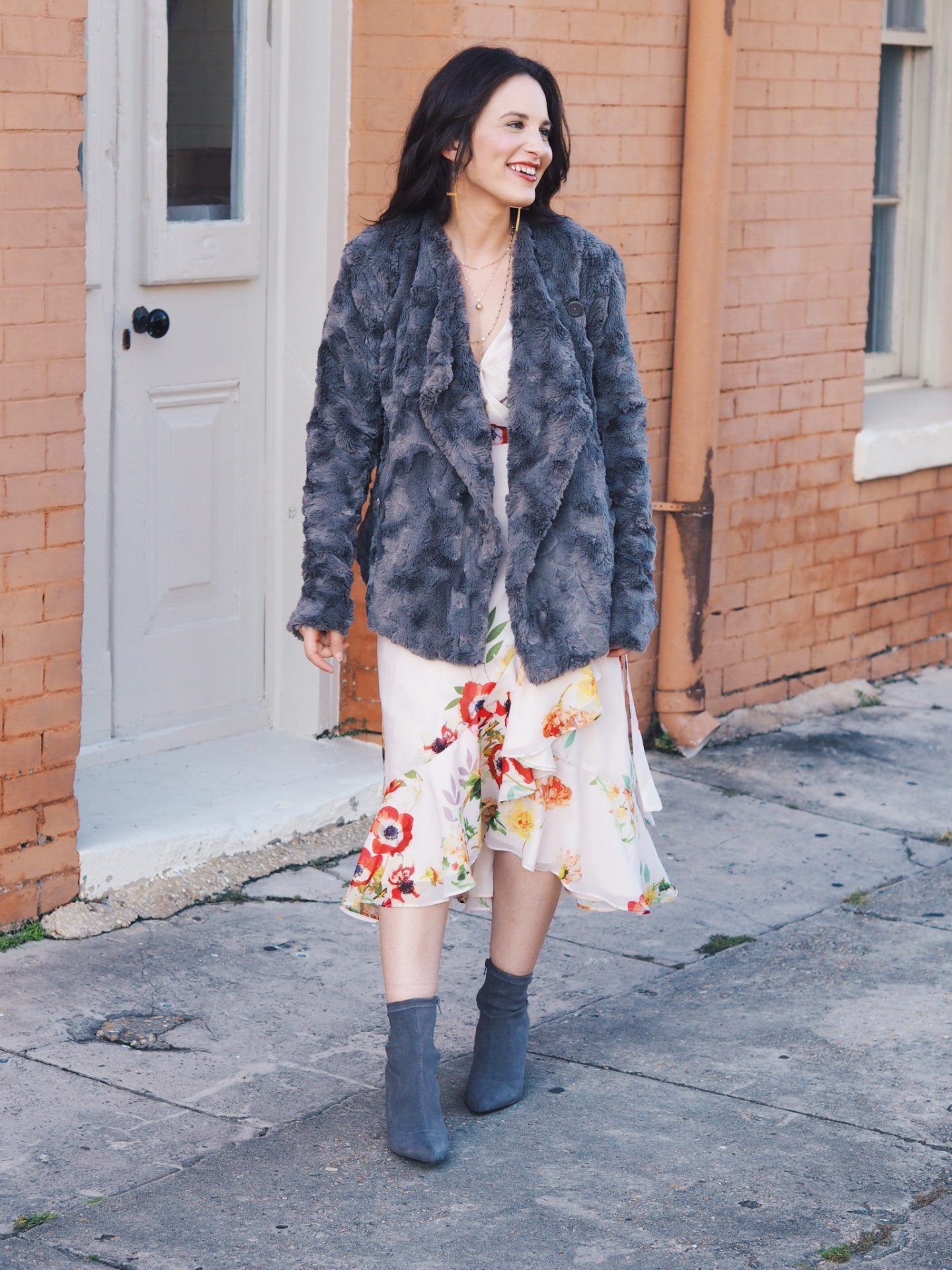 faux fir. floral dress. fall dress. fall style. transition style. one dress. sock boots. mom. mom style. natural. strap heels