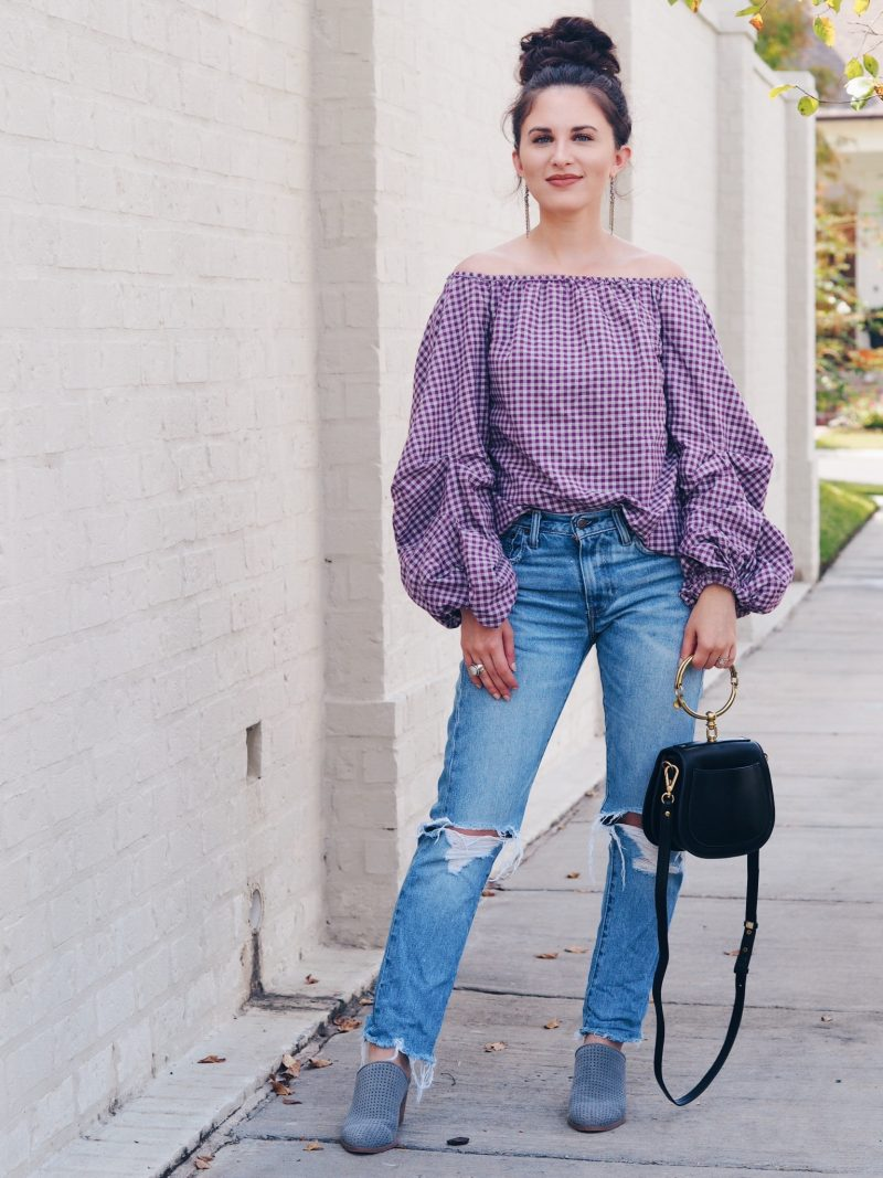 exaggerated sleeves, off the shoulder top, fall, fall looks, fall top, gingham top, fall style, distressed jeans, chloe nile