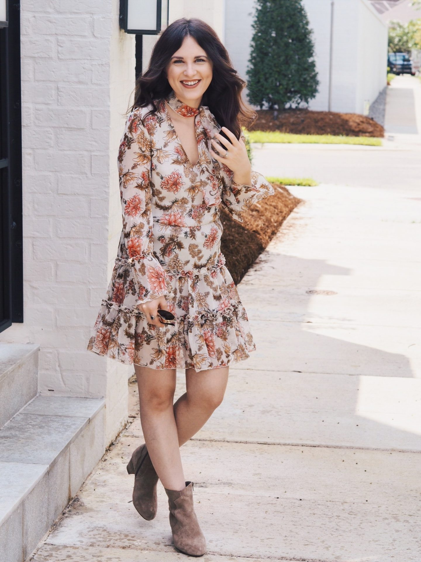floral dress. mini dress. sole society. boots. booties. fall look. fall style. fall favorites
