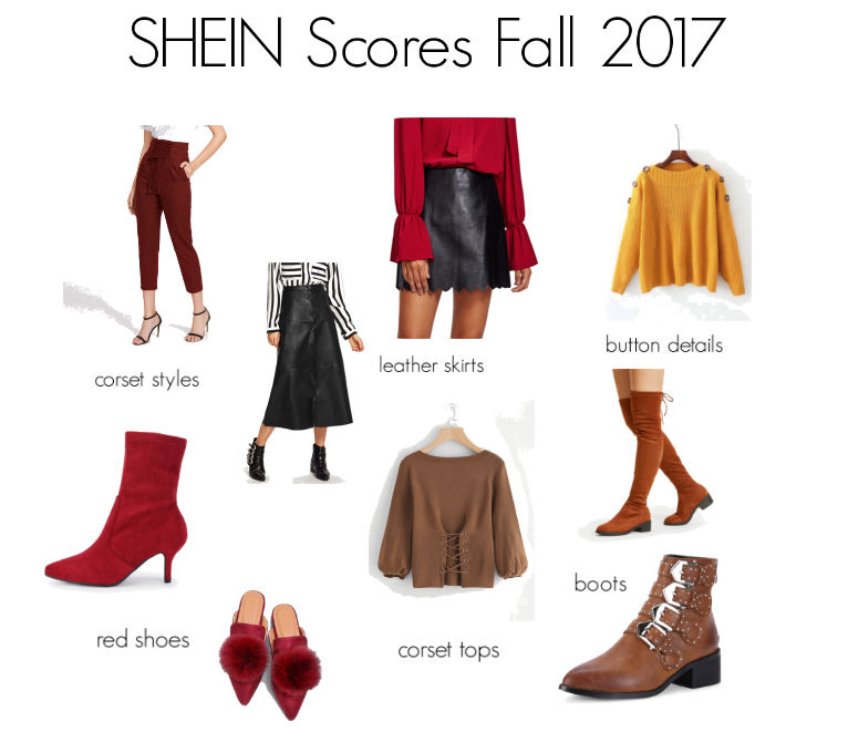 shein scores. shein. fall finds. fall style. red boots. otk boots. corset top. leather skirt. buckle boots. shein style.