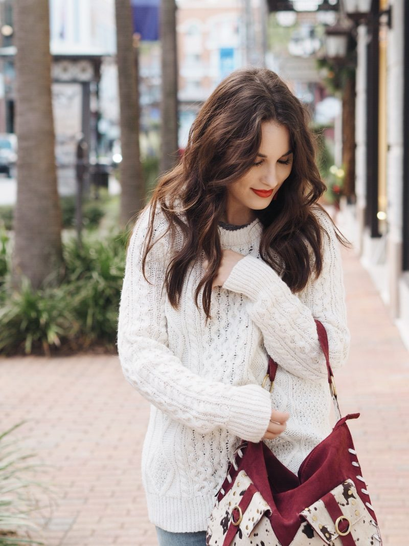cable knit sweater thanksgiving look, cable knit sweater, thanksgiving day look, thanksgiving day, fall look, fall style, sweater weather, boyfriend jeans, burgundy boots, fall in the south, thanksgiving in the south