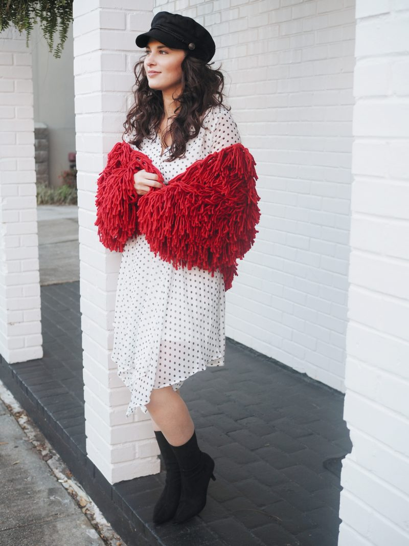 valentines day, v-day, valentines day looks, red looks, polka dotted dress, polka dots, baker boy hat, red and white looks, v-day style, valentines, galentines, valentines day style, curly hair, sock boots, nasty gal, steve madden