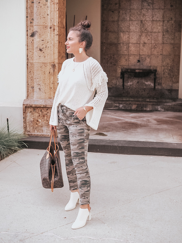 cozy sweaters, fall sweaters, fall look, camo pants, dolce vita booties, white boots, louis vuitton neverfull, fall fashion, shopbop fall look, neutral fall look